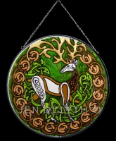 Stag Herne Celtic Art Stained Glass by Jen Delyth