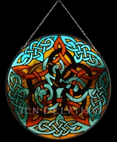 PENTACLE KNOT Celtic Art Stained Glass by Jen Delyth