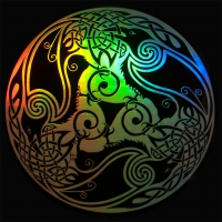 Triple Celtic Ravens - Morrigan spectrum STicker Window decal By Jen Delyth