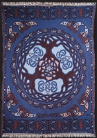 WORLD TREE blue -Afghan Throw By Jen Delyth