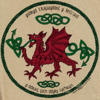 RED DRAGON - Y DDRAIG GOCH Short Sleeved T Shirt Keltic Designs By Jen Delyth