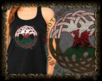 DRAGON ROOTS Triblend FLOWY TANK By Jen Delyth