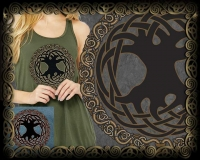 CELTIC TREE OF LIFE Triblend FLOWY TANK By Jen Delyth ©