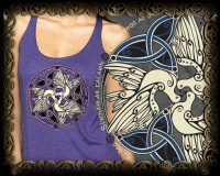 CELTIC DOVES - peace Triblend Racer Back Tank By Jen Delyth
