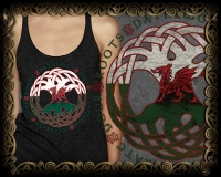 DRAGON ROOTS - peace Triblend Racer Back Tank By Jen Delyth