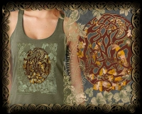 WOODLAND CELTIC FOX Triblend Racer Back Tank By Jen Delyth