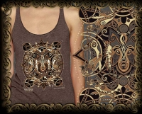 CELTIC WOLF MOON Triblend Racer Back Tank By Jen Delyth