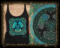 WORLD TREE yggdrasil  Triblend Racer Back Tank By Jen Delyth