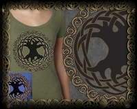 Celtic Tree of Life Triblend LS Tshirt By Jen Delyth