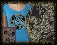 MORRIGAN - triple celtic ravens - original design by Jen Delyth -  Vintage Heather Women's T.