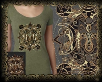 CELTIC WOLF MOON Triblend SS Tshirt By Jen Delyth
