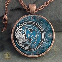 ARIANRHOD Moon Spirit - Vintage Celt Copper Glass Domed Pendant By Jen Delyth