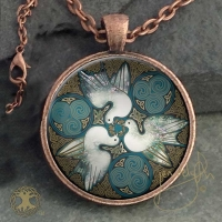 BRIGHID - Vintage Celt Copper Glass Domed Pendant By Jen Delyth