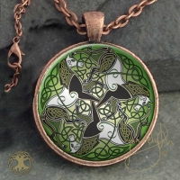 EPONA CELTIC HORSES - Vintage Celt Copper Glass Domed Pendant By Jen Delyth