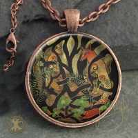 WOODLAND FOX - Vintage Celt Copper Glass Domed Pendant By Jen Delyth