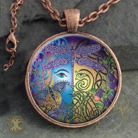 the GARDEN - Green Man / Blue Woman - Vintage Celt Copper Glass Domed Pendant By Jen Delyth