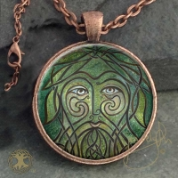 GREEN MAN  - Vintage Celt Copper Glass Domed Pendant By Jen Delyth