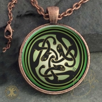 FAERIE KATS Kats Sidhe  - Vintage Celt Copper Glass Domed Pendant By Jen Delyth