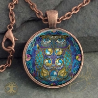 OWL  - Vintage Celt Copper Glass Domed Pendant By Jen Delyth