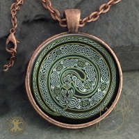 EARTH SERPENT Ouroboros  - Vintage Celt Copper Glass Domed Pendant By Jen Delyth