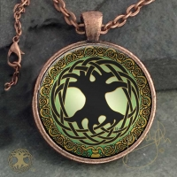 CELTIC TREE OF LIFE  - Vintage Celt Copper Glass Domed Pendant By Jen Delyth