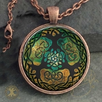 YGGDRASIL World Tree  - Vintage Celt Copper Glass Domed Pendant By Jen Delyth
