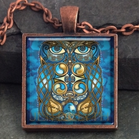 BLODEUWEDD THE OWL - Vintage Celt Copper Glass Domed Pendant By Jen Delyth
