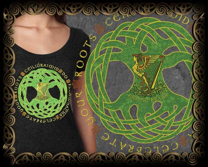 Irish Celebrate Your Roots Written In Irish Gaelic Around Jen Delyth S Iconic Celtic Tree Of Life Vintage Heather Women S