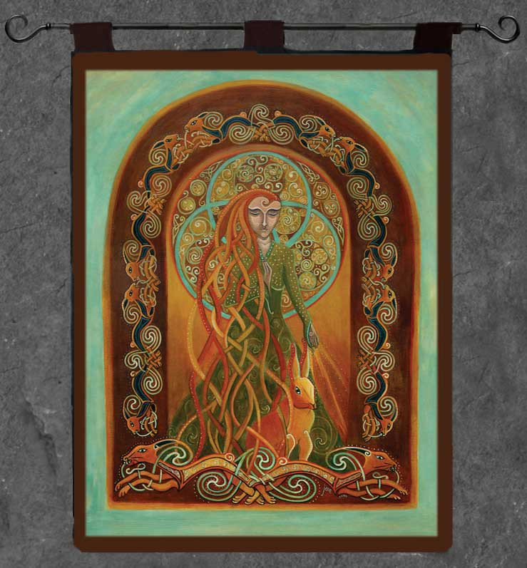 Melangell Of The Hares Wall Hanging Celtic Art By Welsh